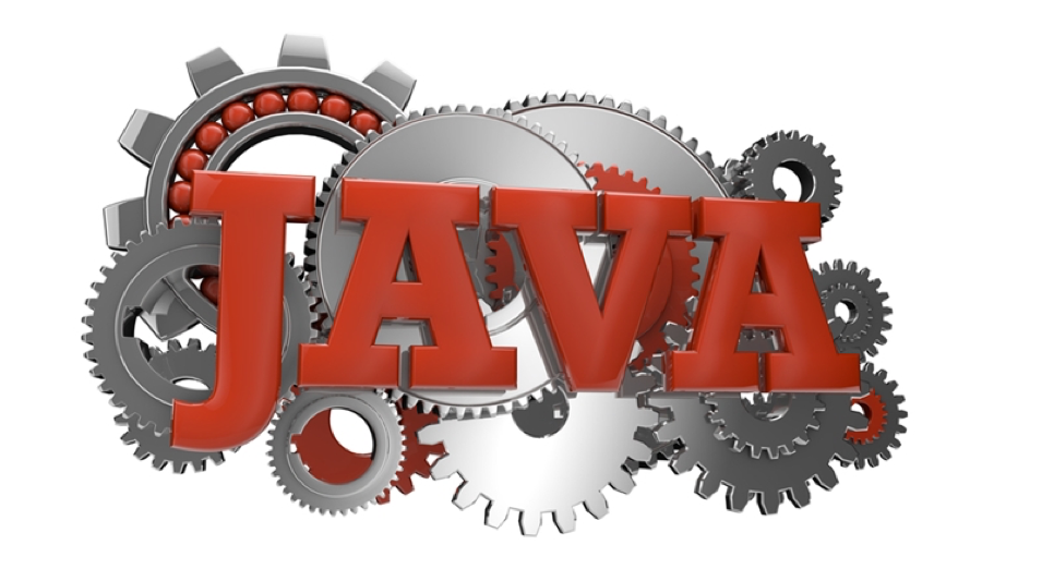 The word Java with gears behind it