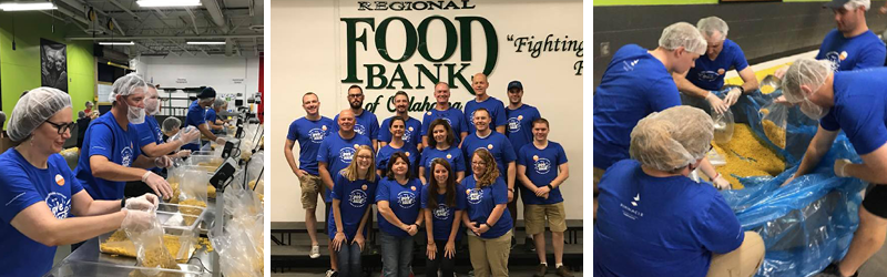 Pinnacle team members volunteering at Regional Food Bank of Oklahoma in 2018
